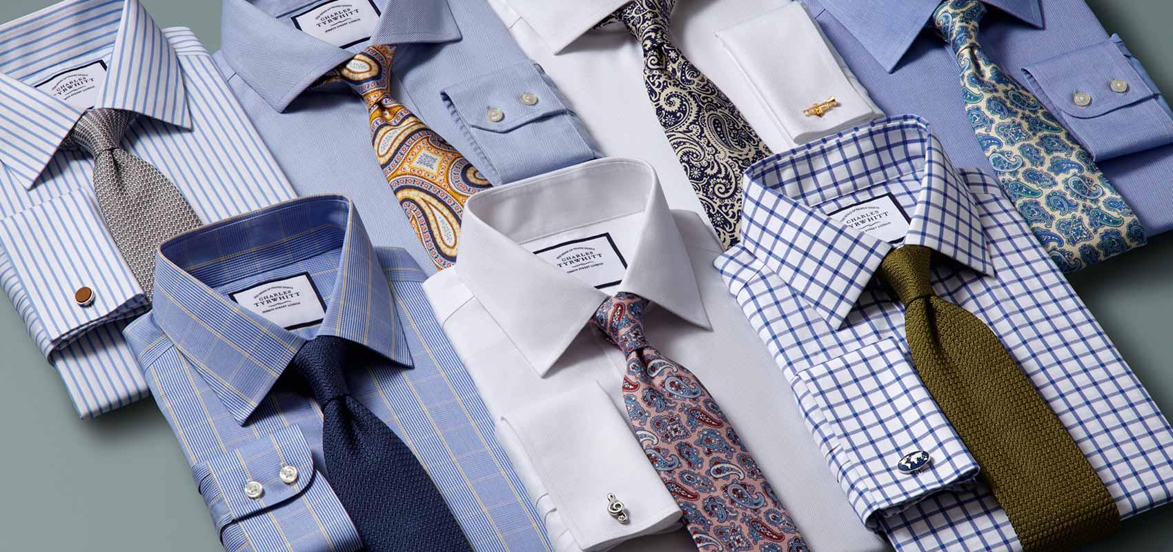 Charles Tyrwhitt Blaue und weiße bügelfreie Hemden