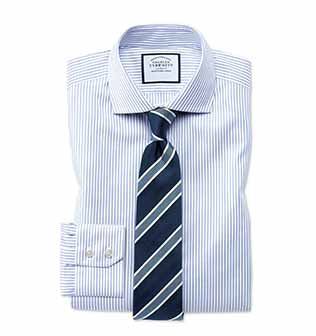 Blue stripe stretch dress shirt with navy and blue stripe tie