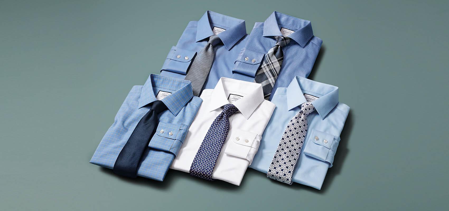 Charles Tyrwhitt Men's non-iron white and blue shirts