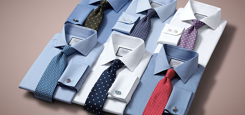 Charles Tyrwhitt Men's non-iron white and blue shirts