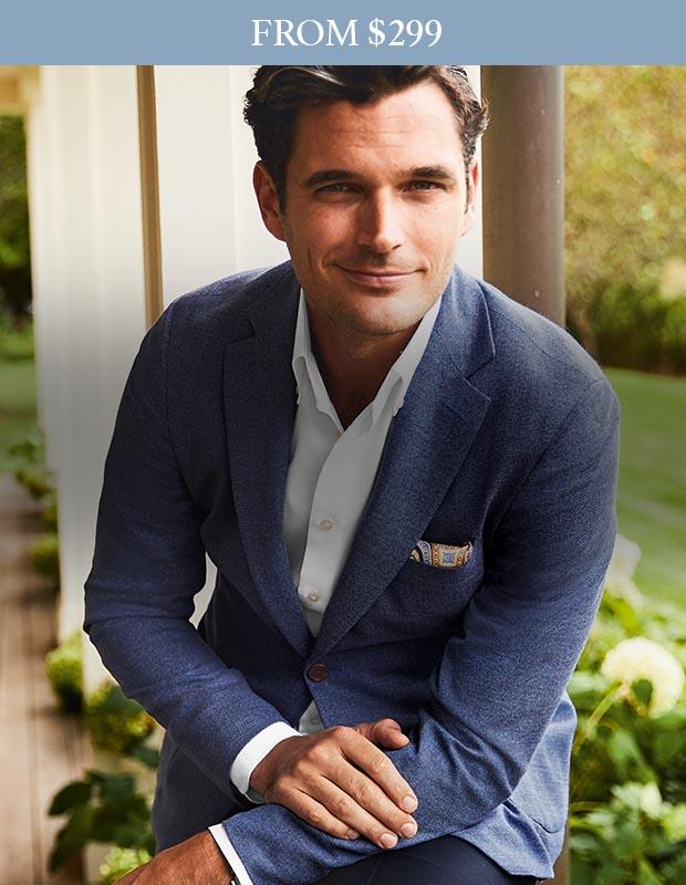 Man wearing blue Italian jacket