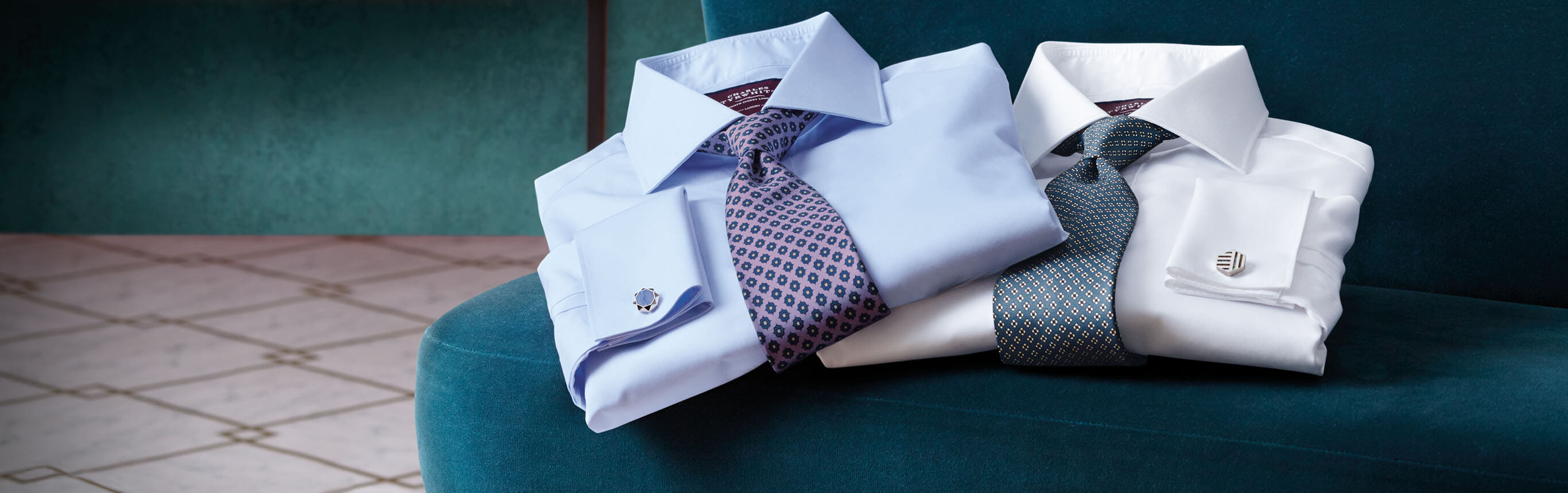 Image of stack of twill shirts