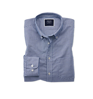A blue check non-iron shirt