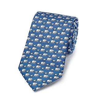Blue silk tie with grey elephant print