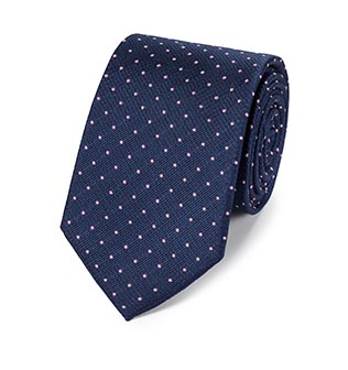 A blue spotted classic tie