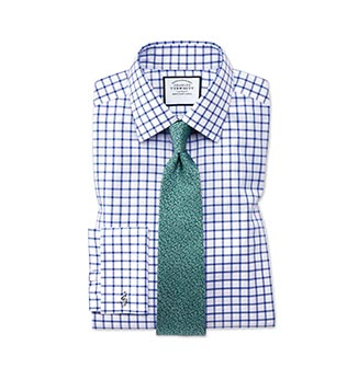 Blue check  dress shirt with teal tie