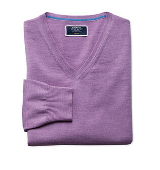 Lilac v-neck merino sweater