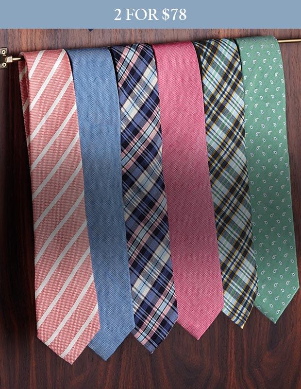 Hanging row of silk linen ties