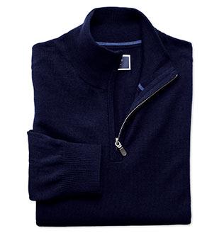 Folded navy zip front merino sweater