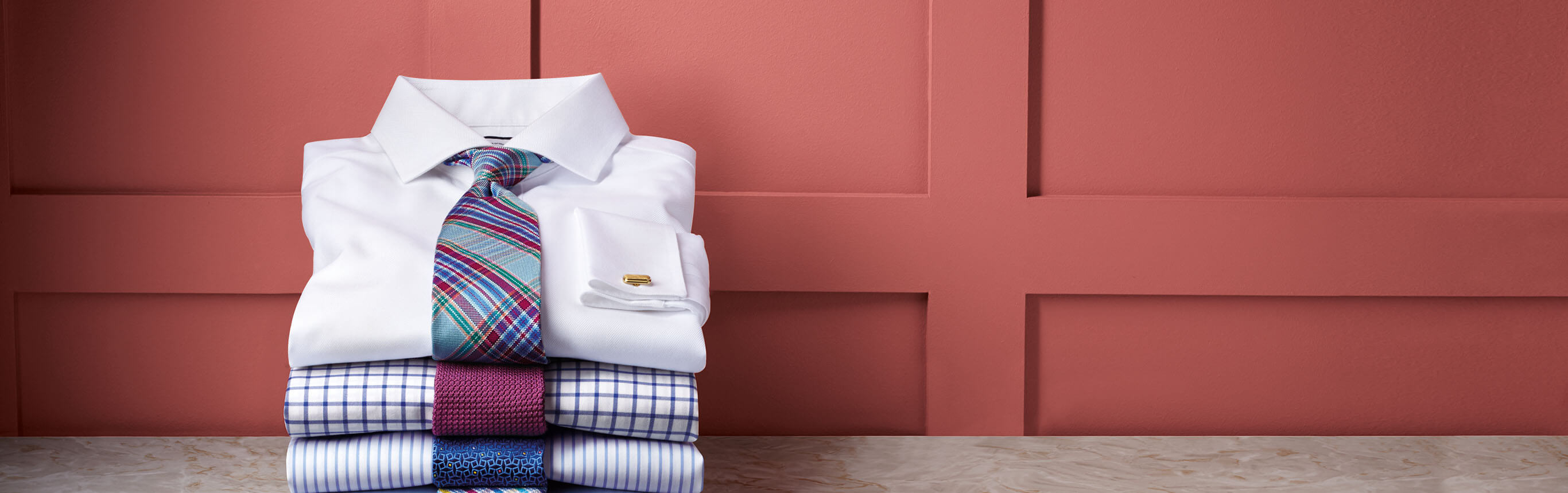 Image of stack of non iron shirts