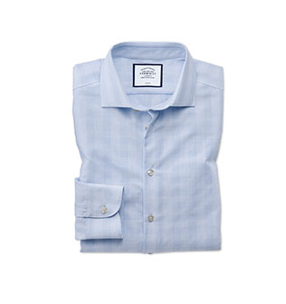 a blue check shirt