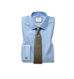 A blue Prince of Wales shirt