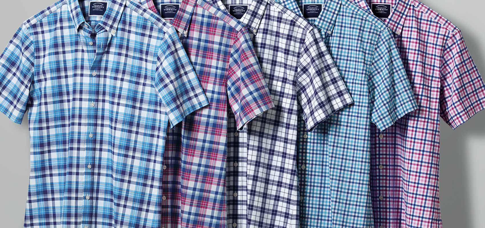 Poplin check short sleeve shirts