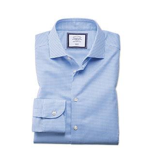 Blue check business casual shirt