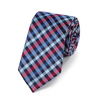 Navy and pink checked tie