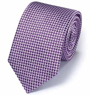 Purple diamond lattice classic silk tie