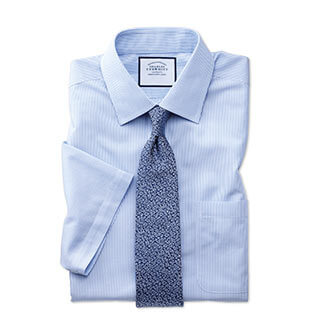Blue short sleeve dress shirt