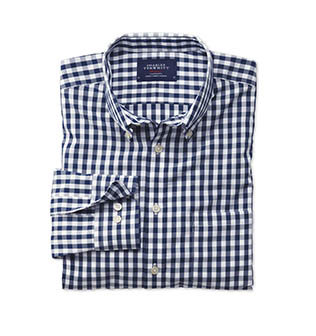 A blue and white check casual shirts