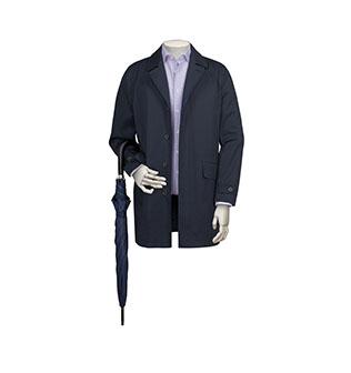 A navy raincoat