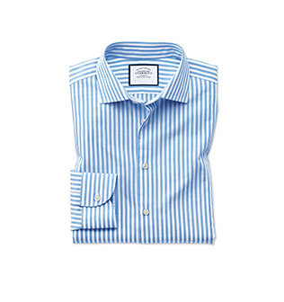 A blue and white striped leno weave shirt