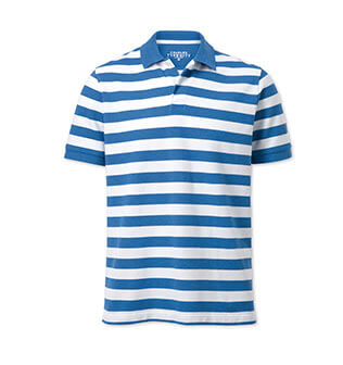 Blue and white stripe polo shirt