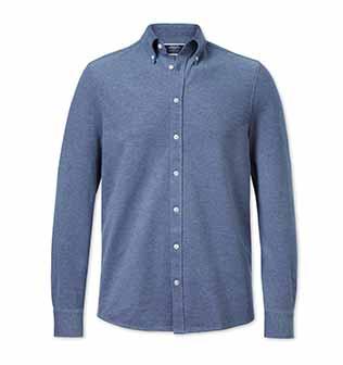 Blue button down collar jersey shirt